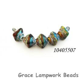 10405507 - Five Aqua w/Light Brown Crystal Beads