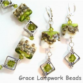 10406404 Earrings using Lime Green w/Ivory Pillow Beads