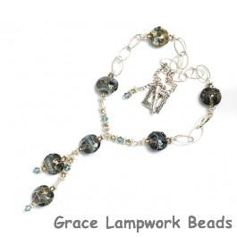 10406602 Necklace using Gray Blue w/Silver Foil Lentil Beads