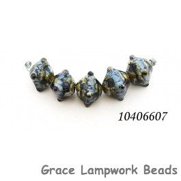 10406607 - Five Gray Blue w/Silver Foil Crystal Beads