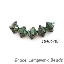 10406707 - Five Ocean Blue w/Silver Foil Crystal Beads