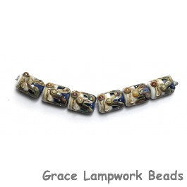 10407003 - Six Transparent Blue Free Style Mini Kalera Beads