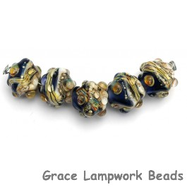 10407007 - Five Transparent Ink Blue w/Free Style Crystal Beads