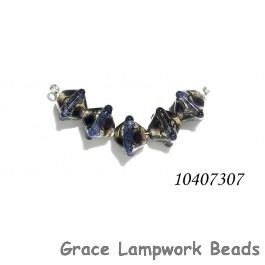 10407307 - Five Black w/Ink Blue Silver Foil Crystal Beads