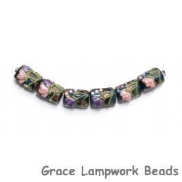 10407403 - Six Pink & Purple Flora Mini Kalera Beads