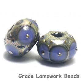 10407801 - Seven Lavender w/Metal Dots Rondelle Beads