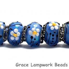 10414201 - Seven Arctic Blue Florals Rondelle Beads