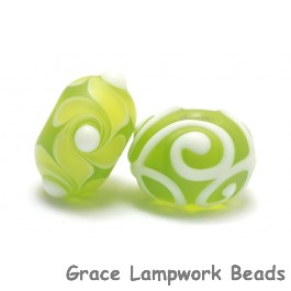 10500401 - Seven Matte-Finished Green Rondelle Beads