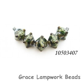 10503407 - Five Green w/Silver Foil Crystal Beads