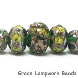 10503911 - Five Graduated Dark Green w/Silver Foil Beads