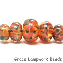 10504711 - Five Graduated Green & Orange Rondelle Beads