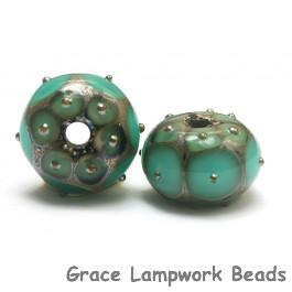 10505101 - Seven Ocean Green w/Metal Dots Rondelle Beads