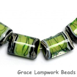 10507703 - Six Spring Green Shimmer Mini Kalera Beads