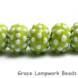 10508201 - Seven Polka Dots on Lime Green Rondelle Beads