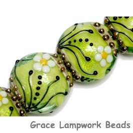 10508412 - Four Spring Green Florals Lentil Beads