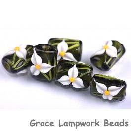 grace lampwork beads handmade artisan glass beads white iris