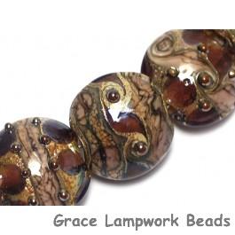 10601202 - Seven Dark Amethyst w/Silver Foil Lentil Beads