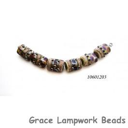 10601203 - Six Dark Amethyst w/Silver Foil Mini Kalera Beads