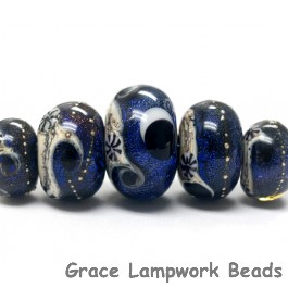 10604111 - Five Graduated Indigo Night Celestial Rondelle Beads