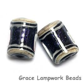 10604303 - Six Indigo Jewel Ridge Mini Kalera Beads