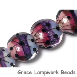 10605012 - Four Purple Rainbow Lentil Beads
