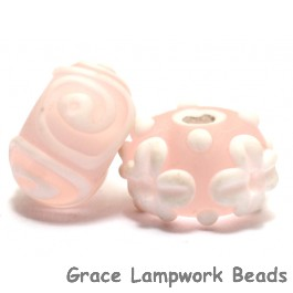 10702401 - Seven Matt Finished Pink w/White Rondelle Beads
