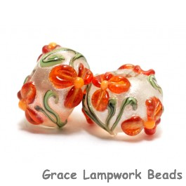10705901 - Seven Vermilion Flower Rondelle Beads