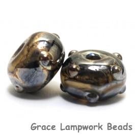 10800801 - Seven Black w/Yellow Silver Foil Rondelle Beads