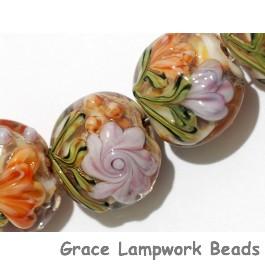 10801002 - Seven Light Pink w/Orange Floral Lentil Beads