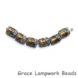 10902403- Six Beige & Ivory Mini Kalera Beads