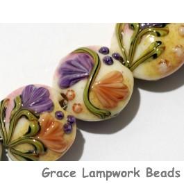 11005802 - Seven Purple w/Orange Flora Lentil Beads
