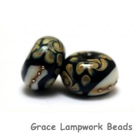 11105001 - Seven Black/Ivory & Beige Rondelle Beads
