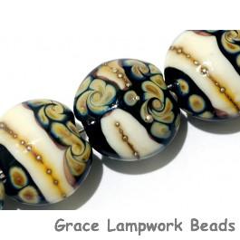 11105002 - Seven Black/Ivory & Beige Lentil Beads