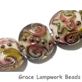 11105602 - Seven Metal Finished Stringer w/Pink Lentil Beads