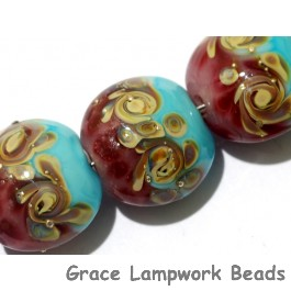 11105702 - Seven Turquoise & Amethyst w/Beige Lentil Beads