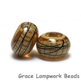 11106101 - Seven Transparent Brown w/Beige Strips Rondelle Beads
