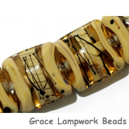 11106104 - Seven Transparent Brown w/Beige Strips Pillow Beads