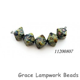 11200807 - Five Black w/Twisted Beige Dots Crystal Beads