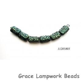11203803 - Six Green Pearl Surface w/Black Mini Kalera Beads