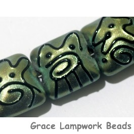 11203804 - Seven Green Pearl Surface w/Black Pillow Beads