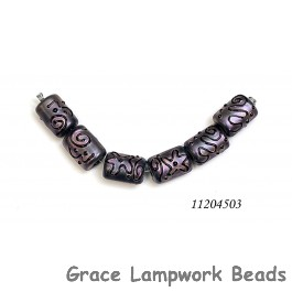 11204503 - Six Light Purple Pearl Surface Mini Kalera Beads