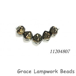 11204807 - Five Golden Pearl Surface w/Black Crystal Beads
