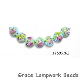 11605102 - Seven Blue w/Pink Flower Lentil Beads