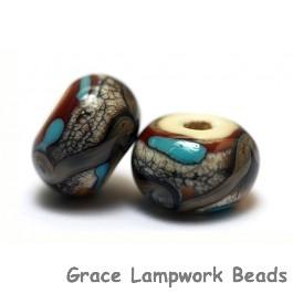 11605701 - Seven Dark Brown Silver Ivory Rondelle Beads