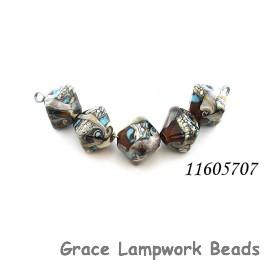 11605707 - Five Dark Brown Silver Ivory Crystal