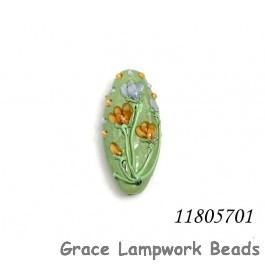 11805701 - Green w/Light Brown Flower Oval Focal Bead
