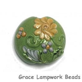 11805702 - Green w/Light Brown Flower Lentil Focal Bead