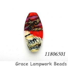 11806501 - Coral w/Ivory Free Style Oval Focal Bead