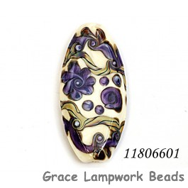 11806601 - Ivory w/Purple & Beige Stringer Oval Focal Bead