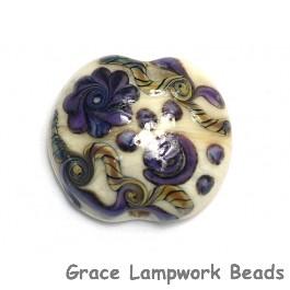 11806602 - Ivory w/Purple & Beige Stringer Lentil Focal Bead